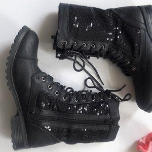SALE! Chic Black Sequin Kombat Boots Size 6
